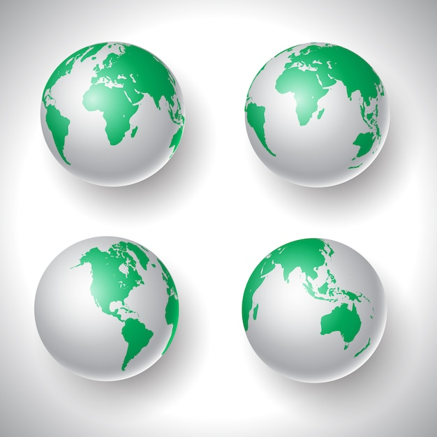 Colección mundial de globos vector gratuito