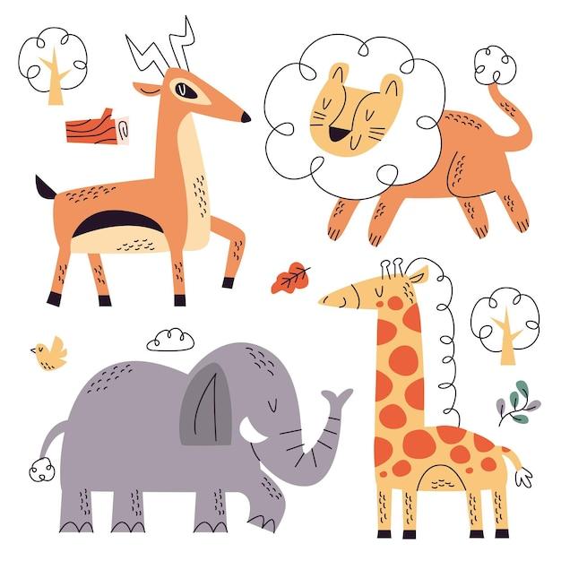 Colección naturaleza doodle dibujados a mano vector gratuito