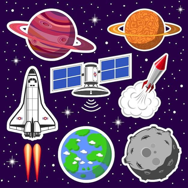 Colección de naves espaciales y planetas, tema espacial. vector gratuito