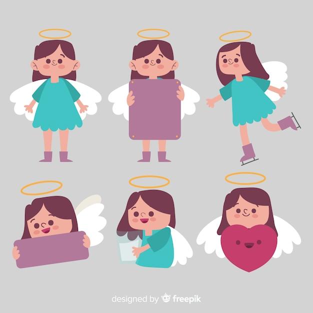 Colección niña ángel navidad vector gratuito