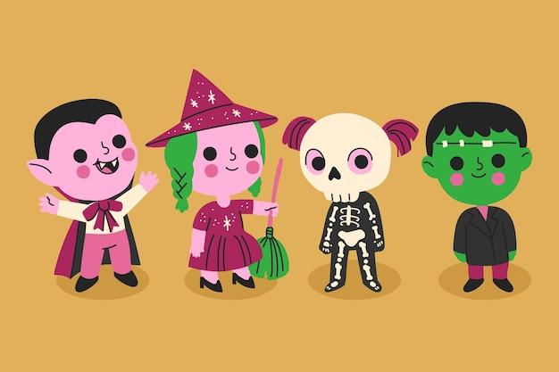 Colección de niños de halloween dibujados a mano vector gratuito