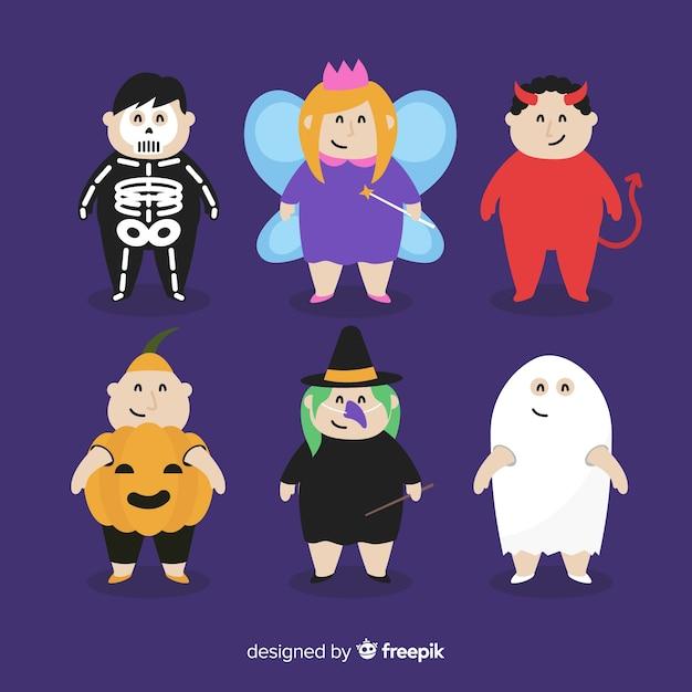 Colección de niños de halloween en diseño plano vector gratuito