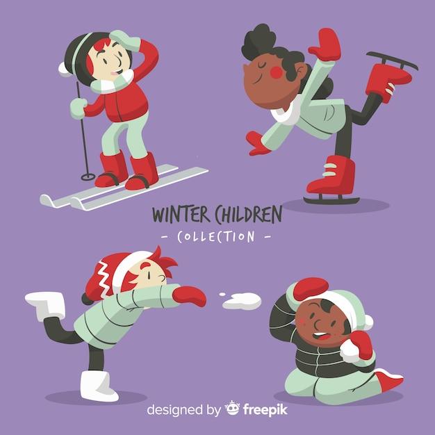 Colección de niños de invierno vector gratuito