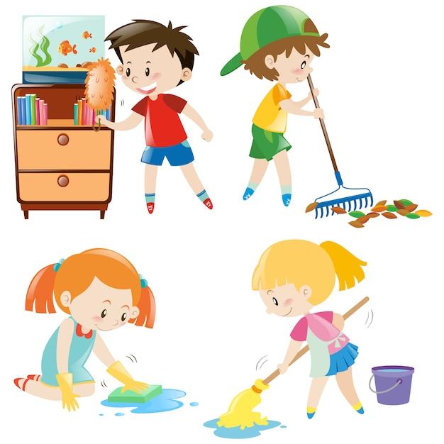 Ninos Limpiando | Fotos y Vectores gratis