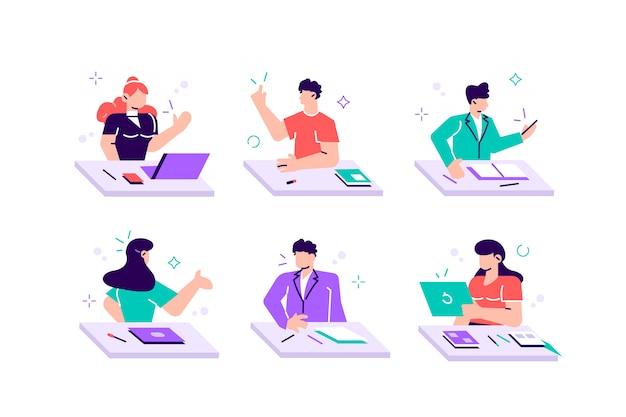 Colección de niños y niñas sentados en escritorios, leyendo libros, escribiendo la prueba de la escuela, durmiendo. conjunto de niños o estudiantes que se preparan para los exámenes. ilustración colorida en estilo plano de dibujos animados Vector Premium