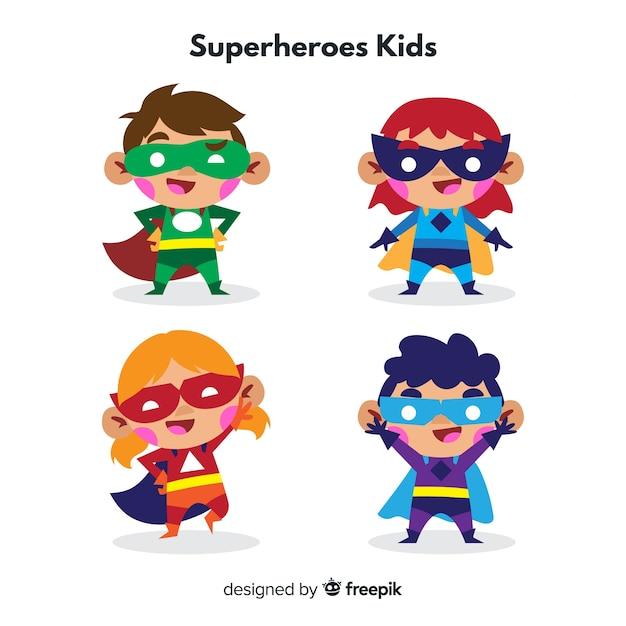 Colección de niños superheroes vector gratuito