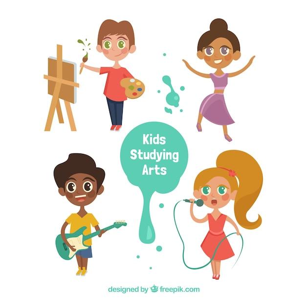 Colección de niños talentosos de dibujos animados vector gratuito