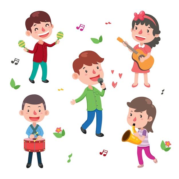 Colección de niños tocando instrumentos | Vector Gratis