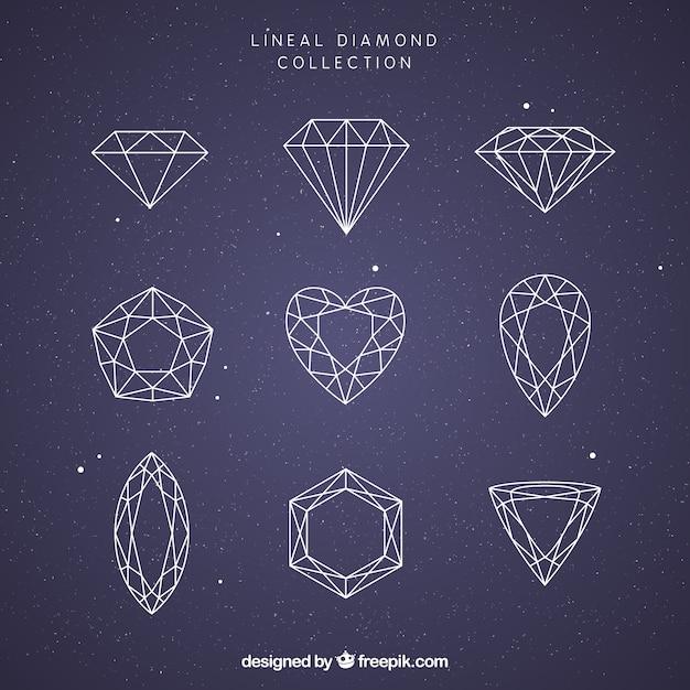 Colección de nueve piedras preciosas lineales Vector Premium