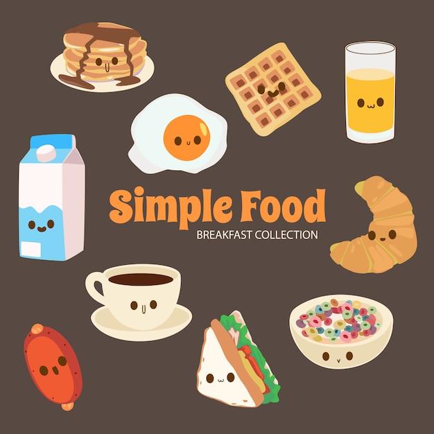 Colección de objetos de comida lala cute rainbow Vector Premium