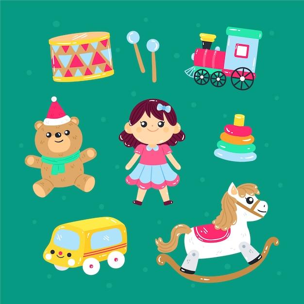 Colección de objetos de juguete para niños. vector gratuito
