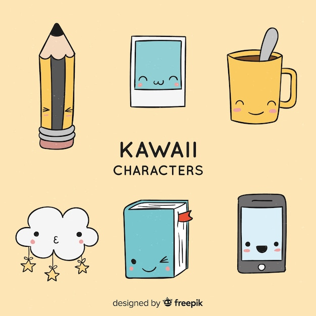 Colección objetos kawaii dibujada a mano vector gratuito