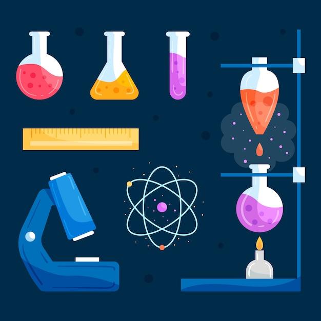 Colección de objetos de laboratorio de ciencias vector gratuito