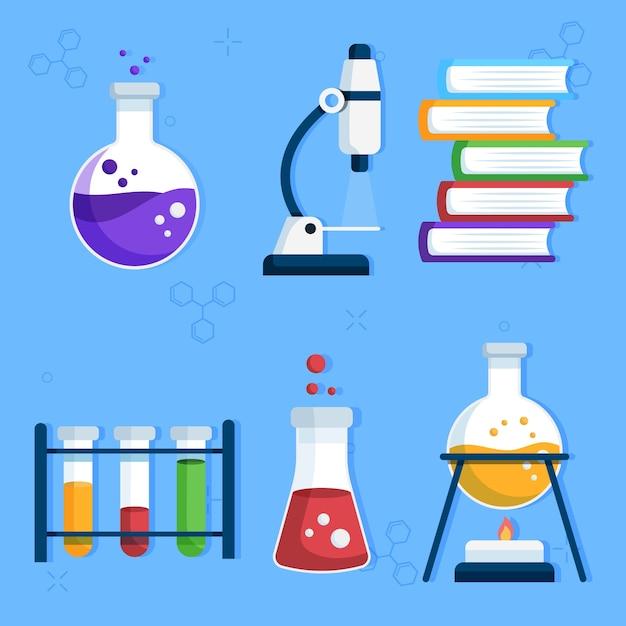 Colección de objetos de laboratorio de ciencias Vector Premium