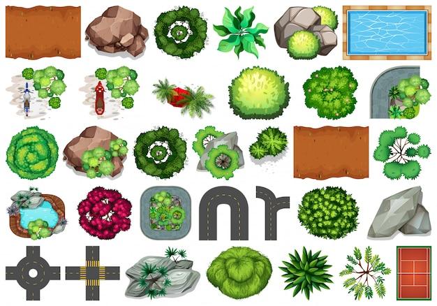 Colección de objetos temáticos de naturaleza al aire libre y elementos vegetales. vector gratuito