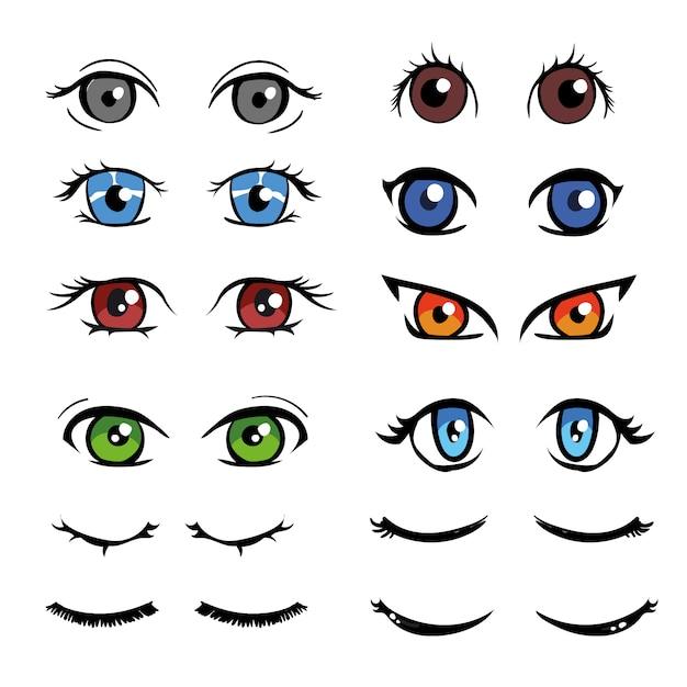 Colección de ojos a color vector gratuito