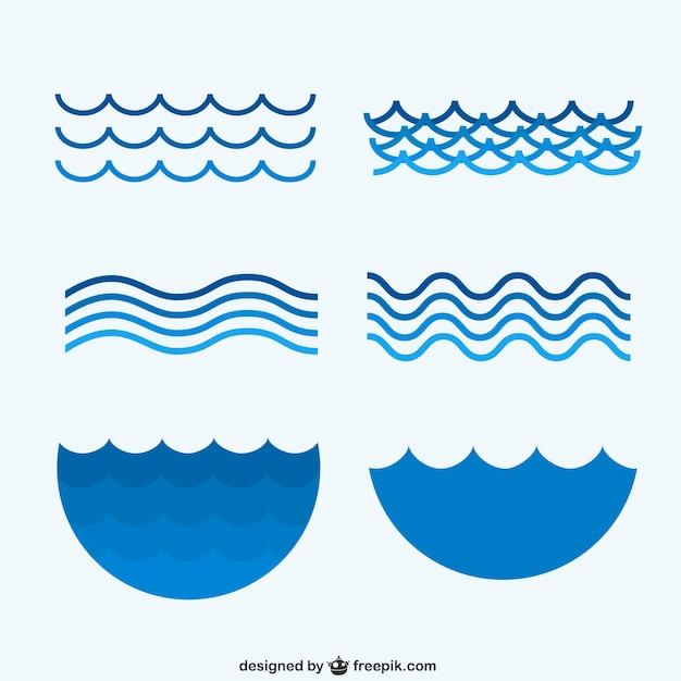 Colección olas de mar vector gratuito