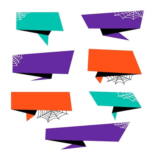 Colección de origami banner de halloween vector gratuito