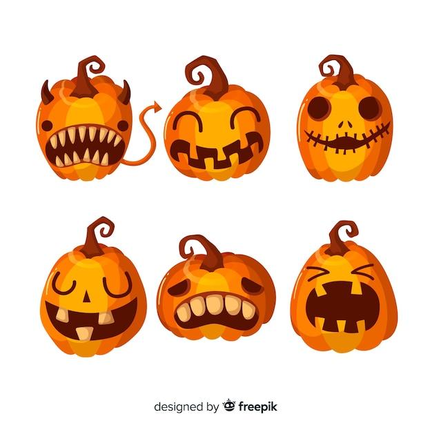 Colección original de calabazas de halloween con diseño plano ...