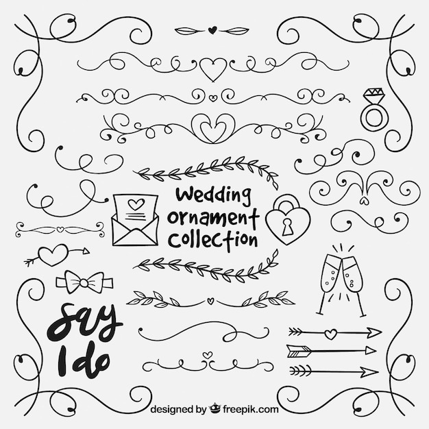 Colección ornamentos dibujados a mano boda vector gratuito