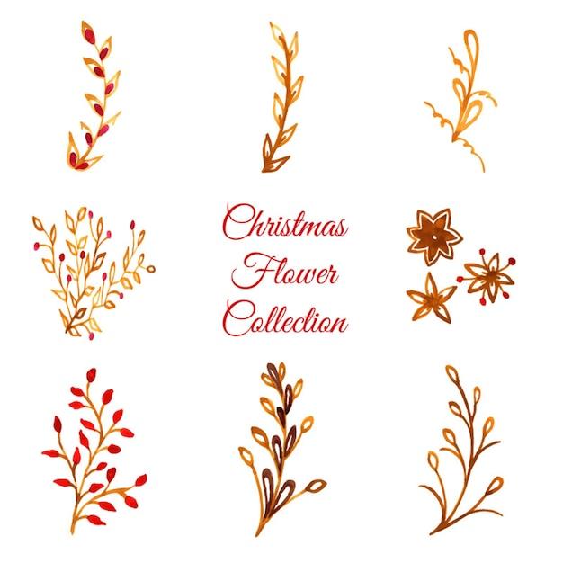 Colección de los ornamentos de la navidad de la acuarela vector gratuito
