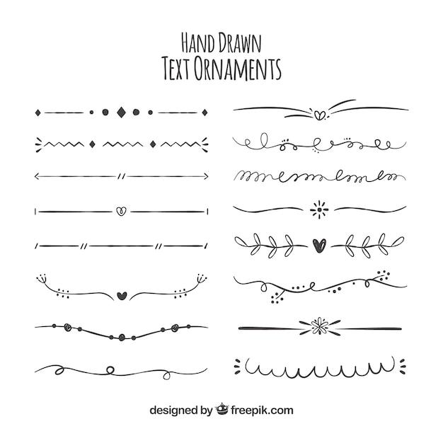 Colección de ornamentos para texto dibujados a mano vector gratuito