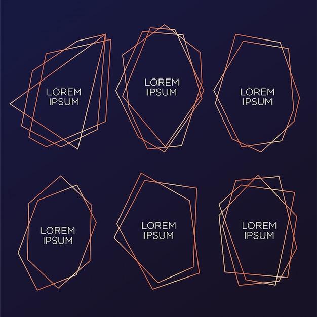 Colección de oro del poliedro geométrico para bodas y fiestas. Vector Premium