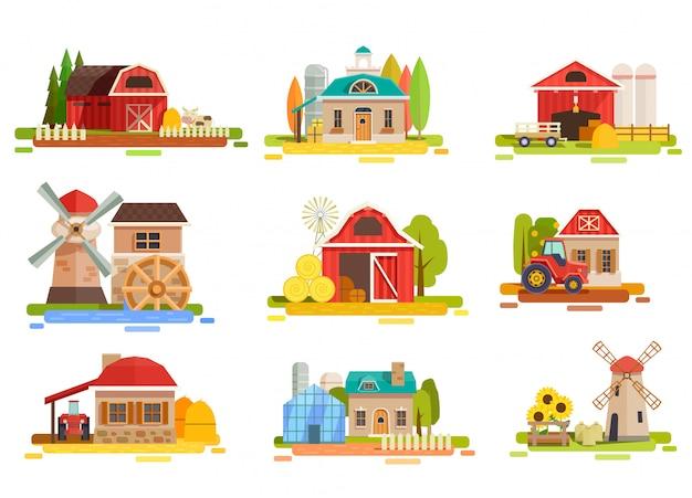 Colección de paisajes de granja plana vector gratuito