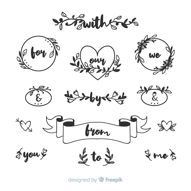 Colección de palabras de boda dibujadas a mano vector gratuito