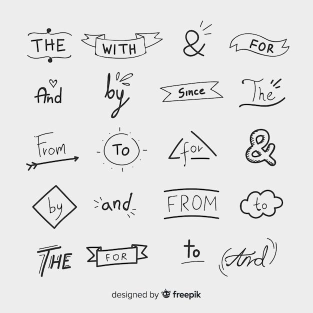 Colección de palabras decorativas de boda dibujadas a mano vector gratuito
