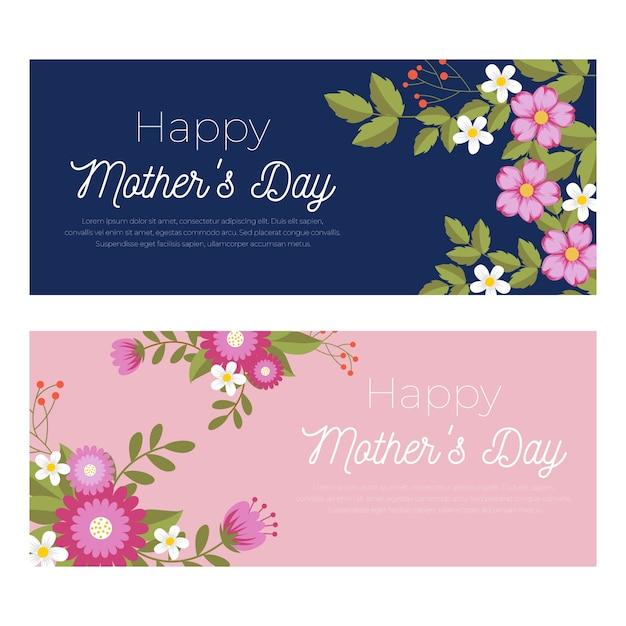 Colección de pancartas del día de las madres vector gratuito