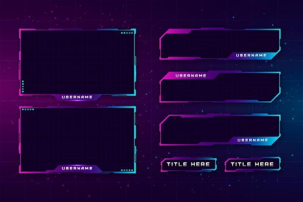 Colección de paneles twitch stream vector gratuito