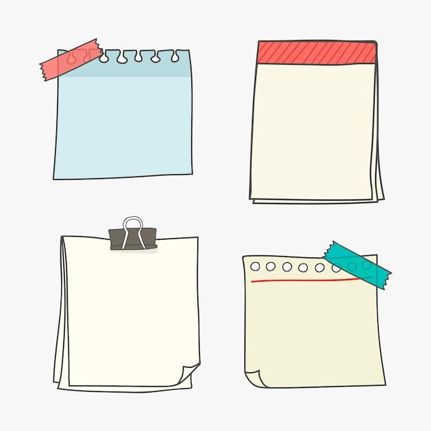 Colección de papel de escritura en blanco vector gratuito