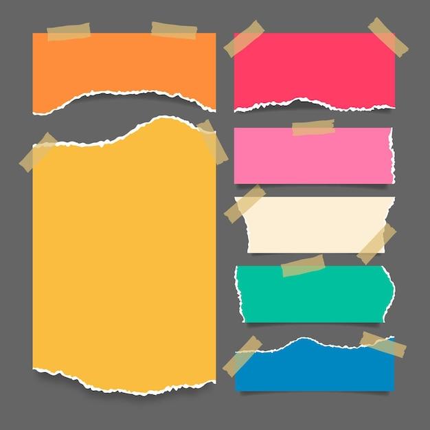 Colección de papel rasgado con diseño de cinta vector gratuito