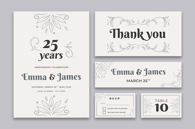 Colección de papelería aniversario 25 años vector gratuito
