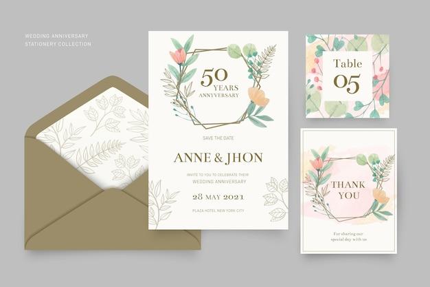 Colección de papelería de aniversario de boda vector gratuito