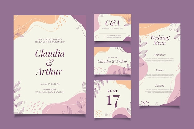 Colección de papelería de boda Vector Premium