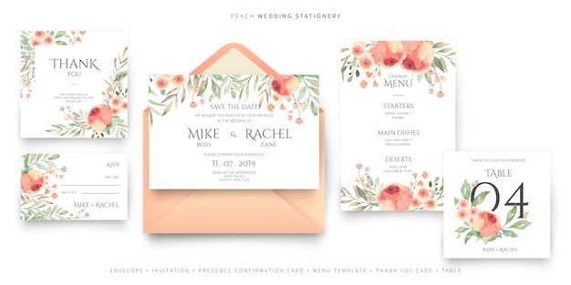 Colección de papelería para bodas en melocotón y colores verdes. vector gratuito