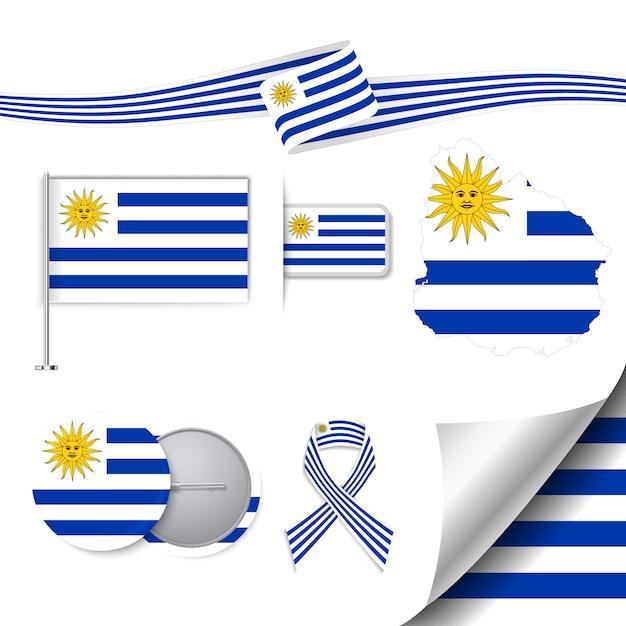 Colección De Papelería Con Diseño De La Bandera De Uruguay