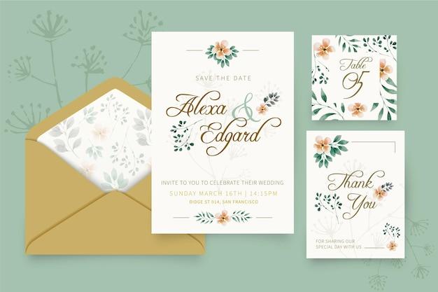 Colección de papelería floral para bodas vector gratuito