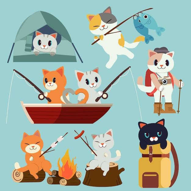 La colección de paquetes de gatos para acampar está lista para ir al picnic de bosque. viaje de acampada y pesca. Vector Premium