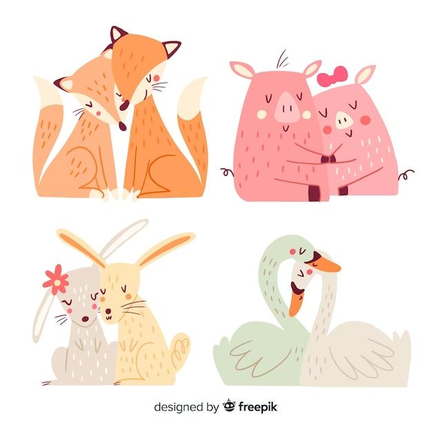 Colección parejas animales día de san valentín vector gratuito