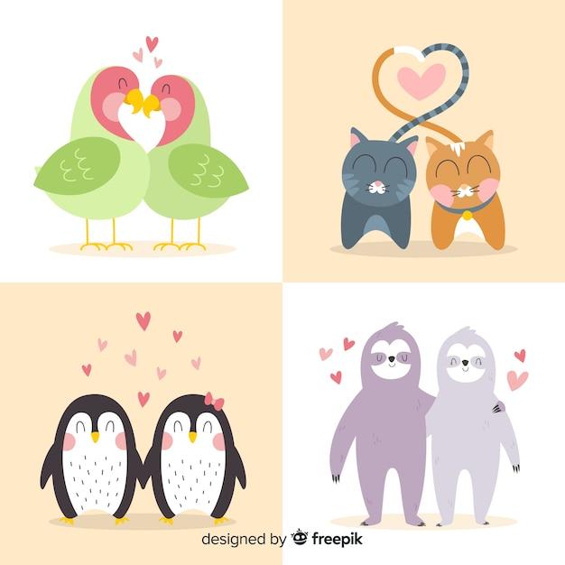 Colección parejas de animales dibujadas a manosan valentín vector gratuito