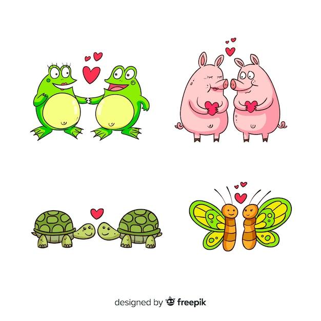 Colección parejas de animales dibujos animados san valentín vector gratuito