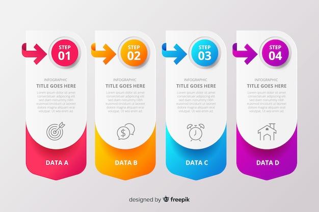 Colección de pasos de infografía gradiente vector gratuito