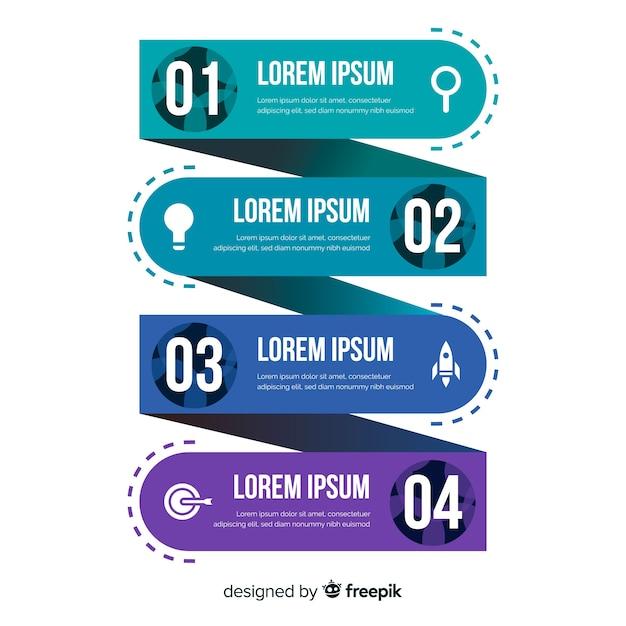 Colección pasos infografía planos vector gratuito