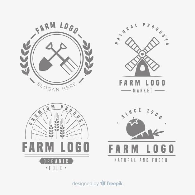 Colección de pastillas de logos de granja en diseño plano vector gratuito