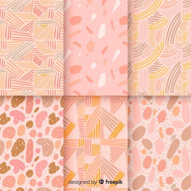 Colección de patrones abstractos dibujados a mano vector gratuito