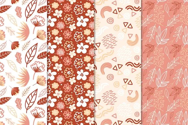 Colección de patrones abstractos dibujar diseño vector gratuito