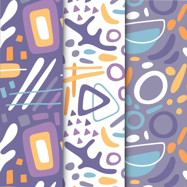 Colección de patrones abstractos dibujar a mano vector gratuito